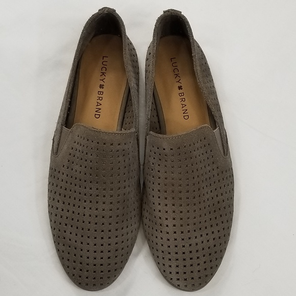 e28d344eed4 Lucky Brand Shoes - Luck Brand Grey Perforated Suede Carthy Loafer